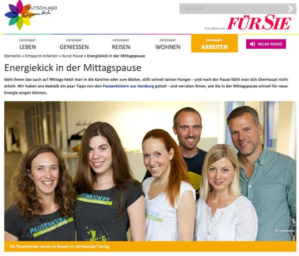 pausenkicker in der Für Sie - Deutschland entspann Dich