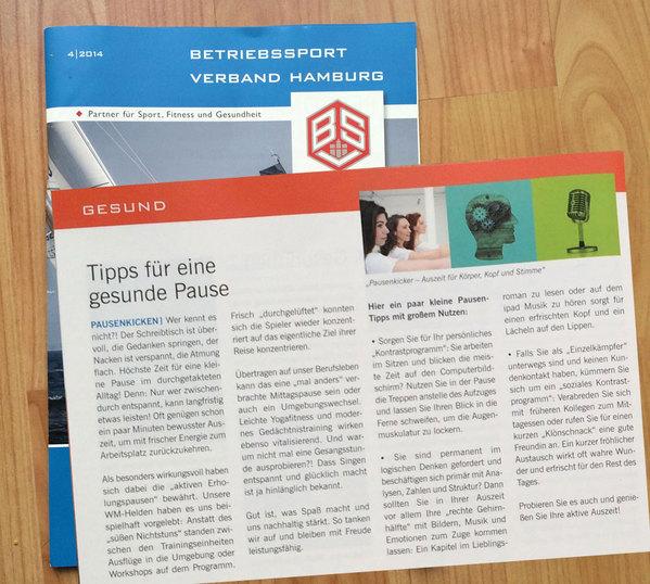 Pausenkicker Tipps für eine gesunde Pause vom Betriebssport Verband Hamburg