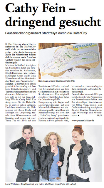 Pausenkicker Stadtrallye Hafencity Zeitung