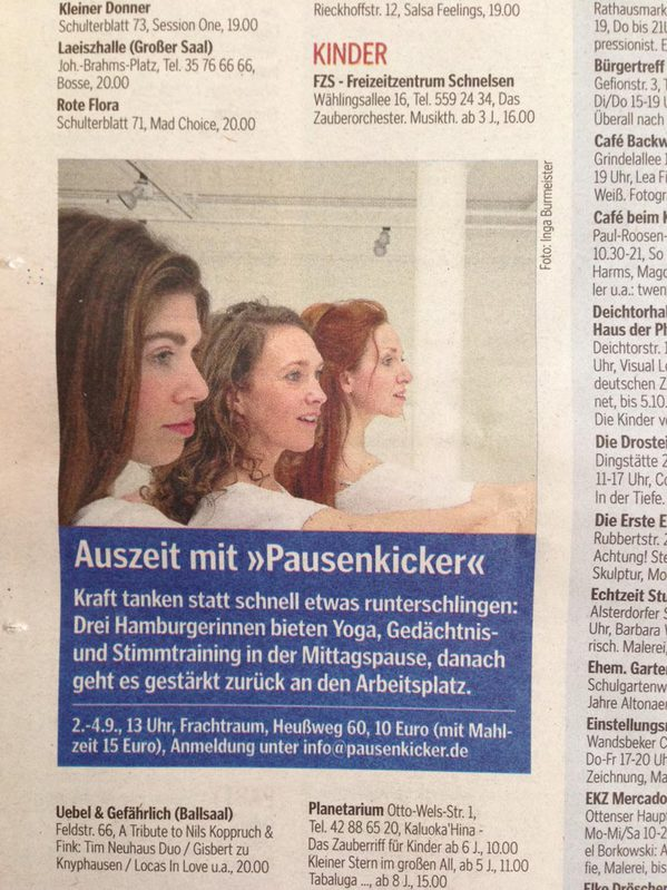 Pausenkicker in der Hamburger Morgenpost